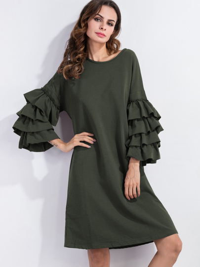 Tiered Frill Sleeve Tunic Dress