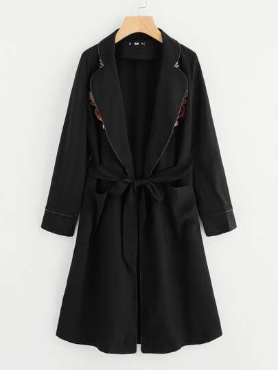Embroidery Applique Tipping Detail Pajama Style Coat