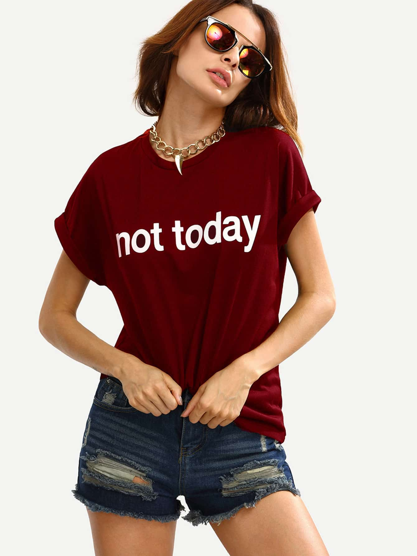 Slogan Print Cuffed T-shirt cartoon cats print cuffed shirt