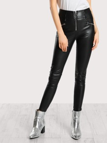 O Ring Zip Up Pleather Pants BLACK