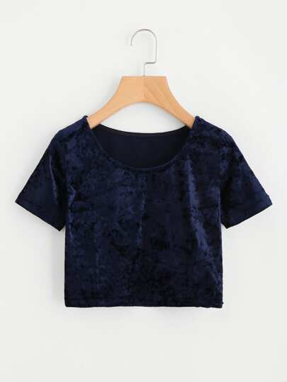 Crop Samt T-Shirt