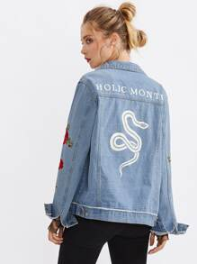Snake And Flower Embroidered Denim Jacket