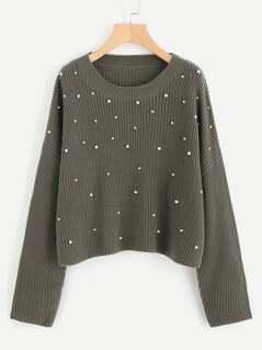 Drop Shoulder Pearl Beading Sweater