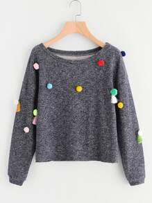 Tassel & Pom Pom Detail Marled Sweatshirt