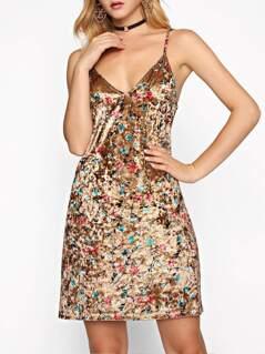 Dual V Neck Botanical Crushed Velvet Cami Dress