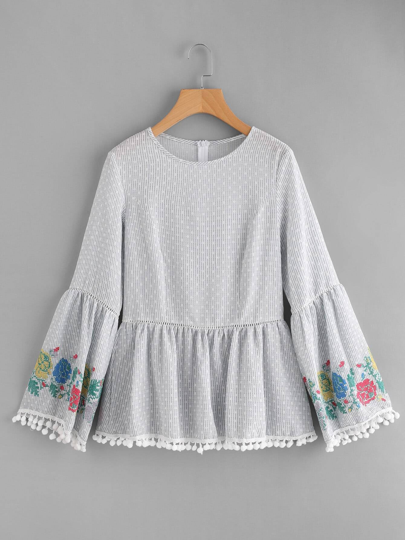 Pom Pom Trim Embroidered Trumpet Sleeve Top open shoulder pom pom trim top