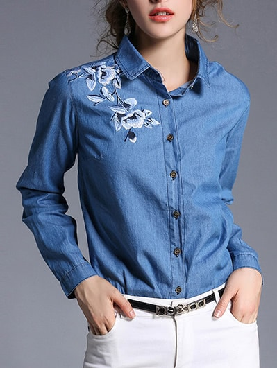 Image of Flower Embroidered Denim Shirt