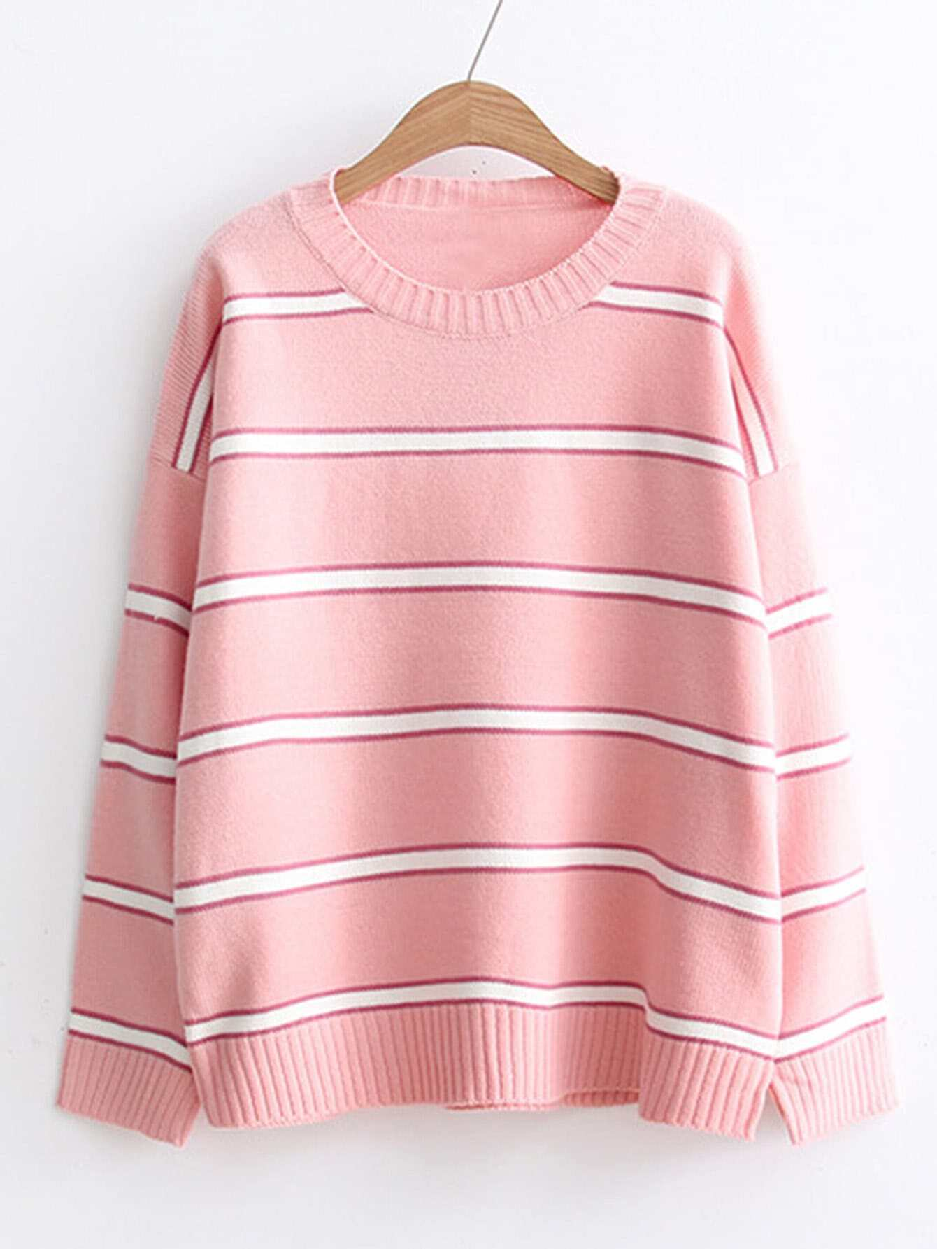 Ribbed Trim Striped Sweater rkni170925214