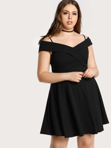 Bardot Sleeve Cross Over Cold Shoulder Dress BLACK