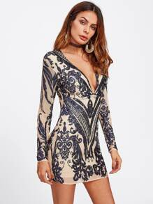 Deep V Neckline Porcelain Print Dress