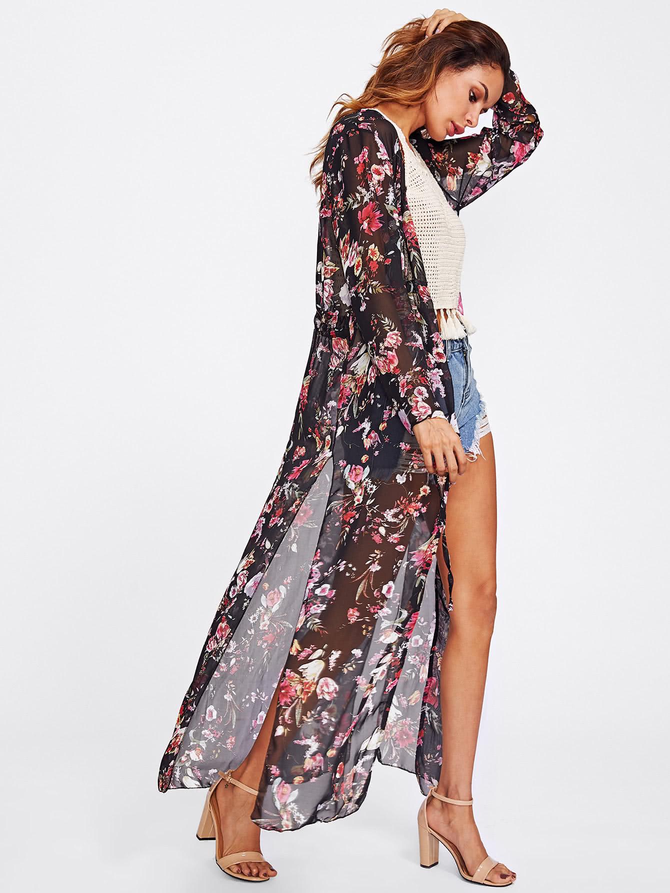 Random Florals Slit Side Drawstring Kimono slit side asymmetrical hem embroidery mesh kimono