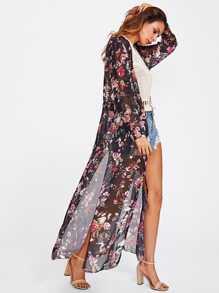 Kimono con cordón con abertura lateral con estampado floral al azar