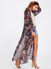 Random Florals Slit Side Drawstring Kimono