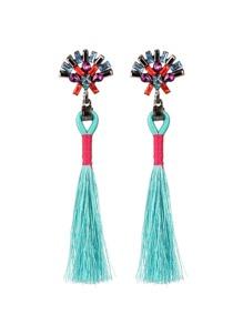Tassel Drop Earrings With Rhinestone