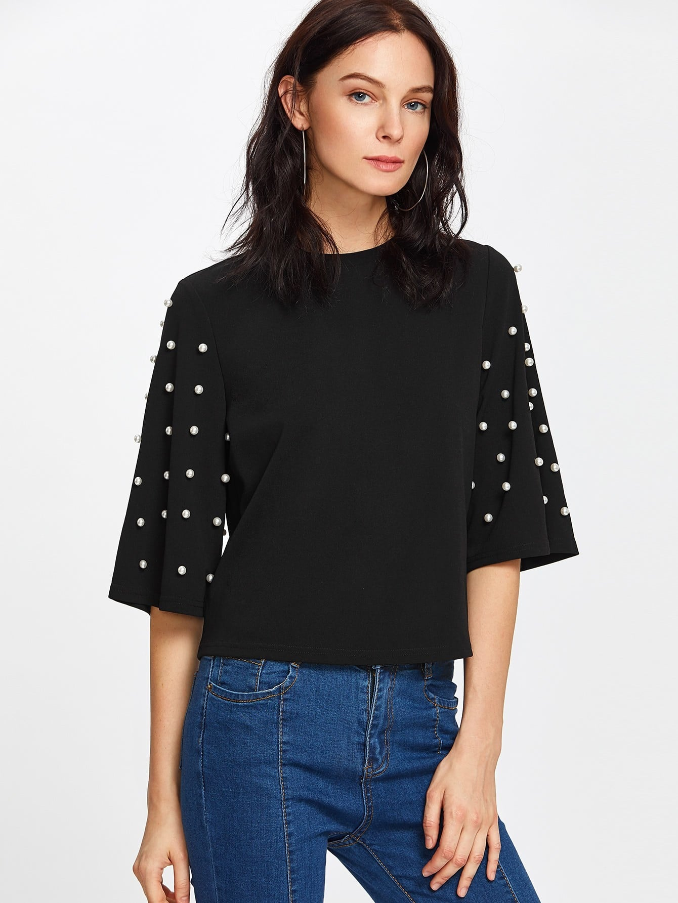 Pearl Embellished Fluted Sleeve Tee v notch pearl leaf chain detail fluted sleeve dress