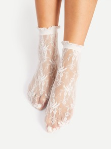 Flower Pattern Lace Slouch Socks
