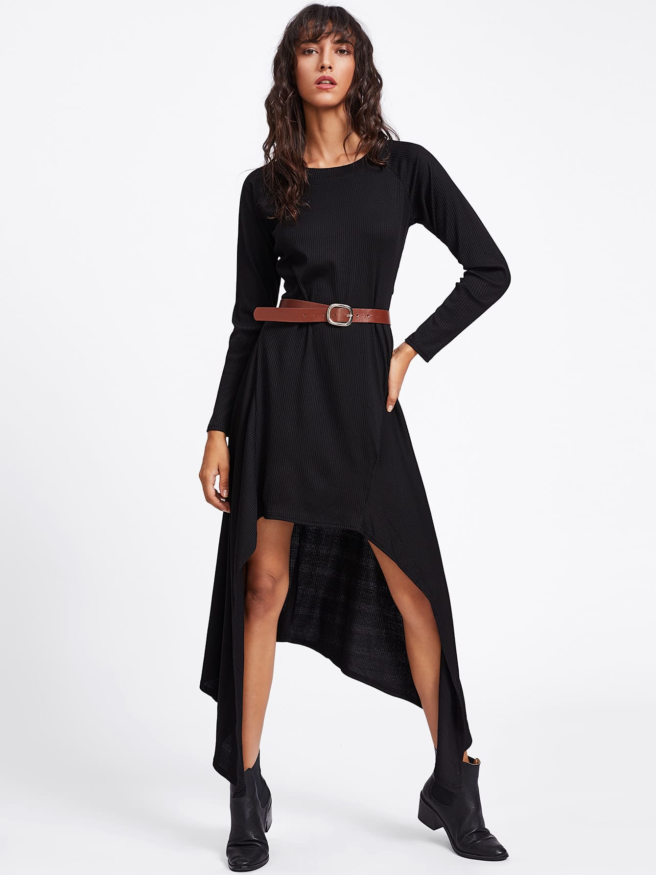 Asymmetric Hem Ribbed Knit Dress With Belt dress170922312