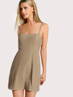 Spaghetti Strap Pinstripe Mini Dress SAND