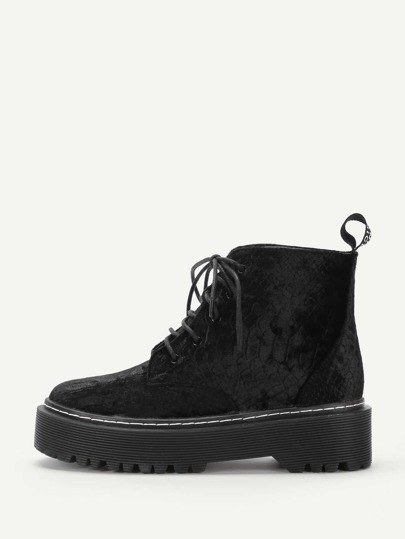 Crocodile Pattern Lace Up Ankle Boots