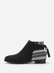 Tassel Back Detail Heeled Chelsea Boots