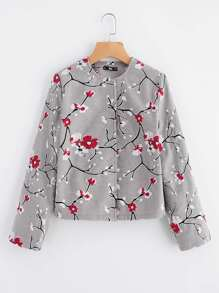 Blossom Embroidered Hidden Button Coat
