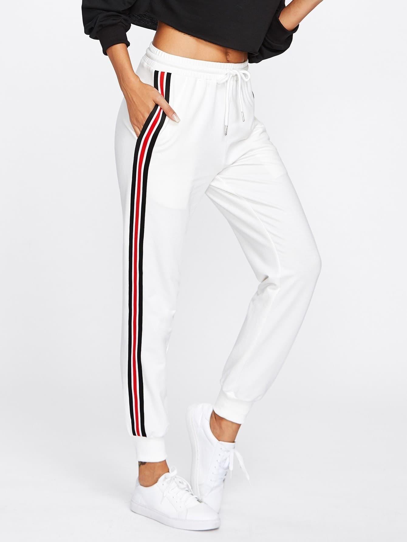 Image of Striped Tape Side Drawstring Sweatpants