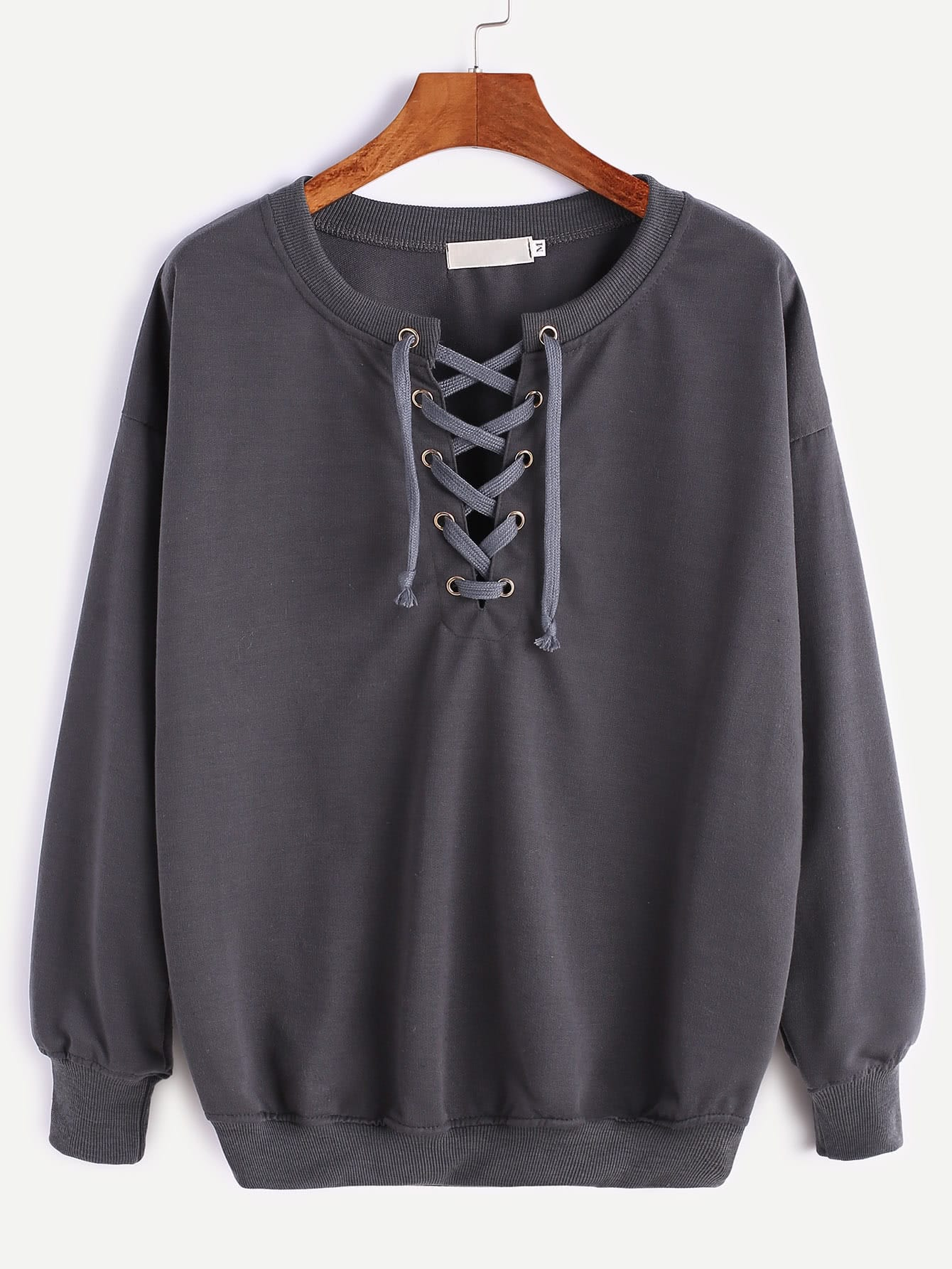Dark Grey Ribbed Trim Drop Shoulder Lace Up Sweatshirt
