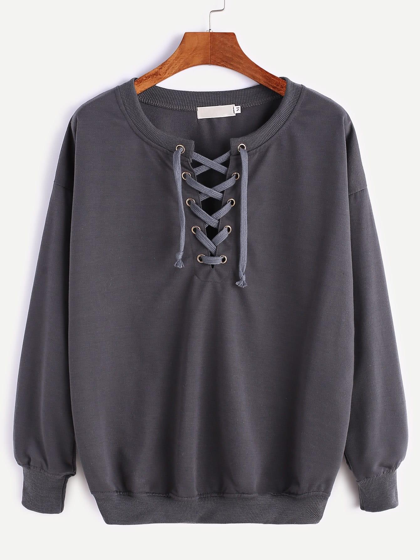 Dark Grey Ribbed Trim Drop Shoulder Lace Up Sweatshirt