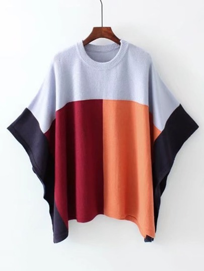 Pull poncho color-block