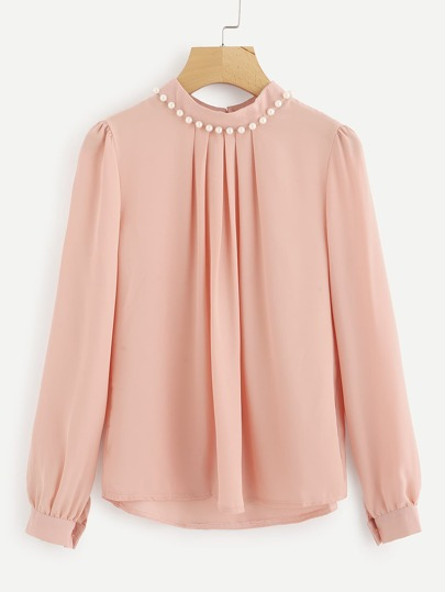 619a7cb34f935 Home · Tops · Blouses  Pearl Beading Chiffon Blouse