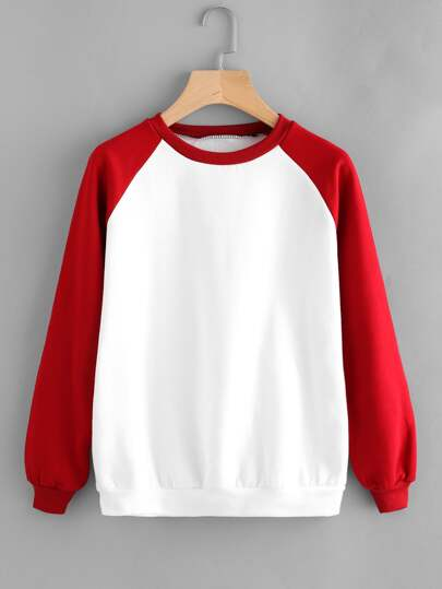 Sweat-shirt avec manche bicolore raglan