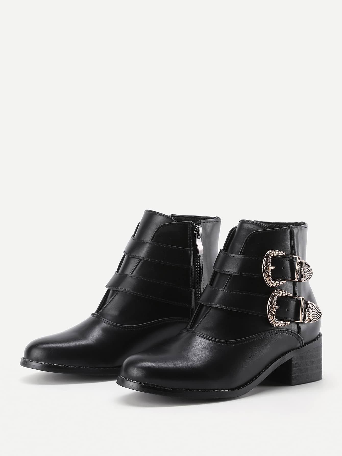 Double Buckle Side PU Ankle Boots