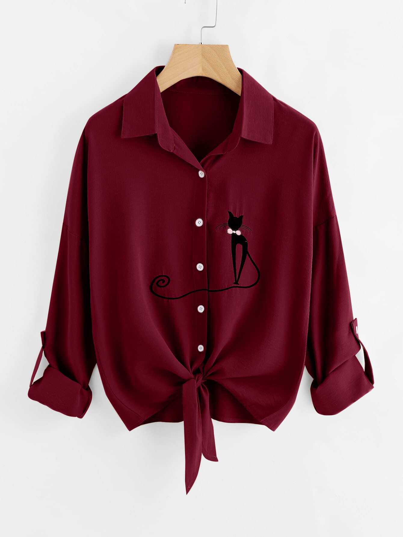 Drop Shoulder Cat Embroidered Knotted Hem Shirt
