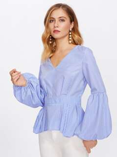 Bishop Sleeve Boxed Pleated Peplum Top