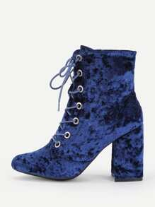 Lace Up Crushed Velvet Boots
