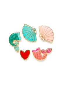 Scallop & Heart Shaped Brooch Set