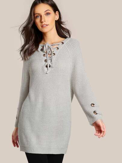 V Neck Lace Up Knitted Top SILVER