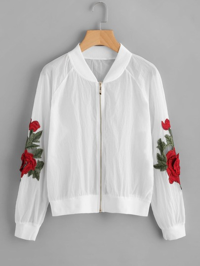 3D Flower Patch Semi Sheer Bomber Jacket