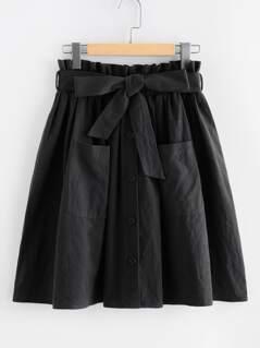Frill Waist Pocket Front Buttoned Skirt