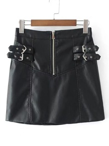 Buckle Detail Zipper Up PU Skirt