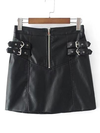 Buckle Detail Zipper Up PU Skirt