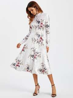 Floral Crushed Velvet Fitted & Flared Dress