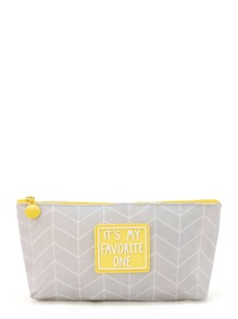Geometric Pattern Slogan Accessory Case