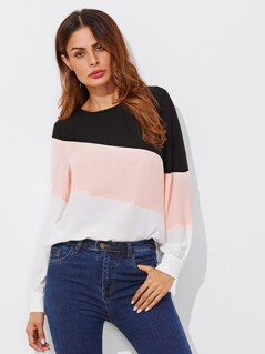 Cut And Sew Buttoned Keyhole Back Blouse