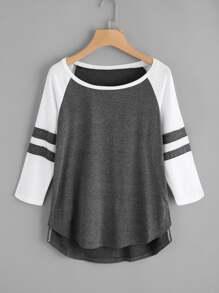 T-Shirt mit Streifen und abfallendem Saum