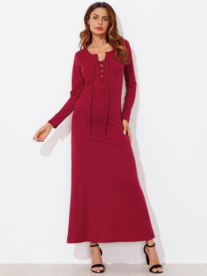 Lace Up Front Maxi Tee Dress