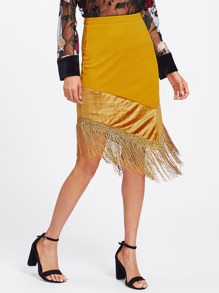 Fringe Hanky Hem Mixed Media Skirt