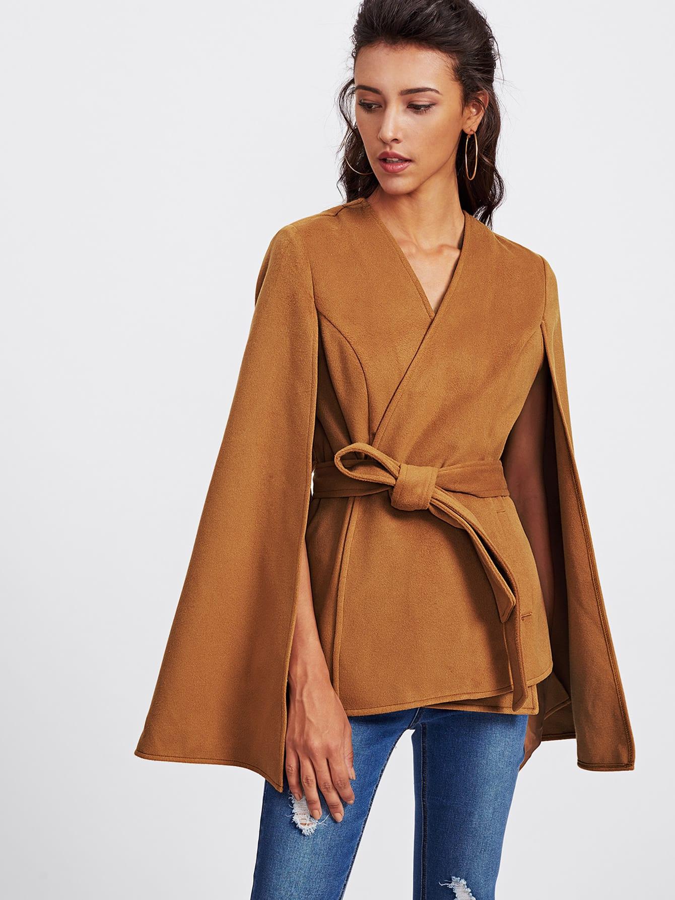 Self Tie Wrap Cape Coat