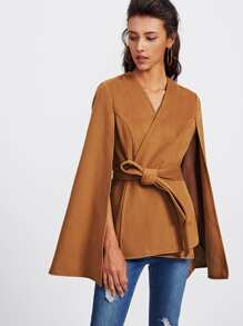 Self Tie Wrap Cape Coat