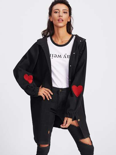 Heart Embroidered Slit Side Hooded Coat